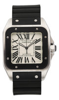Estate Jewelry:Watches, Cartier Gentleman's Stainless Steel, Rubber Santos Watch. ...
