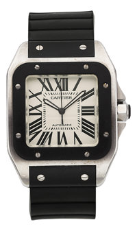 Cartier Gentleman's Stainless Steel, Rubber Santos Watch