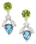 Estate Jewelry:Earrings, Diamond, Peridot, Aquamarine, Platinum Earrings. ... (Total: 2Items)
