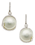 Estate Jewelry:Earrings, South Sea Cultured Pearl, Diamond, White Gold Earrings. ... (Total:2 Items)