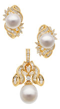 Estate Jewelry:Suites, South Sea Cultured Pearl, Diamond, Gold Jewelry Suite. ... (Total:3 Items)