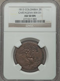 Colombia, Colombia: Cartagena 2 Reales 1813 AU50 Brown NGC,...