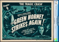 "Movie Posters:Serial, The Green Hornet Strikes Again (Universal, 1941). CGC Graded Title Lobby Card (11"" X 14"") Chapter 9 -- ""The Tragic Crash."". ..."