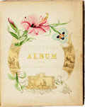 "Books:Manuscripts, [Friendship Album]. Nineteenth-Century Friendship Album for""Amelia."" Commercially published blank album, with scattered man..."