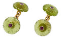 Estate Jewelry:Cufflinks, Ruby, Peridot, Gold Cuff Links, Trianon. ... (Total: 2 Items)