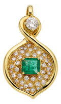 Estate Jewelry:Pendants and Lockets, Diamond, Emerald, Gold Enhancer-Pendant. ...
