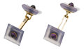 Estate Jewelry:Cufflinks, Amethyst, Chalcedony, Gold Cuff Links. ... (Total: 2 Items)