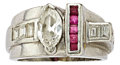 Estate Jewelry:Rings, Art Deco Diamond, Ruby, Platinum Ring. ...