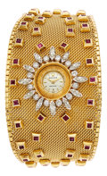 Estate Jewelry:Watches, Retro Rolex Lady's Diamond, Ruby, Gold Bracelet Watch. ...