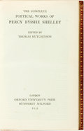 Books:Literature Pre-1900, [Percy Bysshe Shelley]. Thomas Hutchinson (editor). The CompletePoetical Works of Percy Bysshe Shelley. London:...