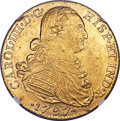 Colombia, Colombia: Charles IV gold 8 Escudos 1797 NR-JJ UNC Details (RimDamage) NGC,...