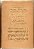 Books:Fiction, [Emily Dickinson]. Martha Dickinson Bianchi and Alfred LeeteHampson (editors). Further Poems of Emily Dickinson,Withhe...