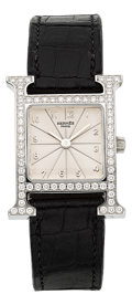 Estate Jewelry:Watches, Hermès Lady's Diamond, Stainless Steel H Watch. ...