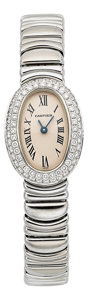 Estate Jewelry:Watches, Cartier Lady's Diamond, White Gold Baignoire Watch, circa 1995. ...
