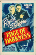 "Movie Posters:War, Edge of Darkness (Warner Brothers, 1943). One Sheet (27"" X 41""). War.. ..."