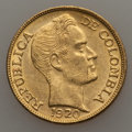 Colombia, Colombia: Republic gold 5 Pesos 1920-B UNC,...