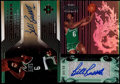Basketball Cards:Lots, 2004-2007 Basketball Bill Russell Pair of Signed Cards (2)....