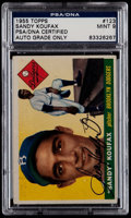 Baseball Cards:Singles (1950-1959), Signed 1955 Topps Sandy Koufax #123 PSA/DNA Mint 9....