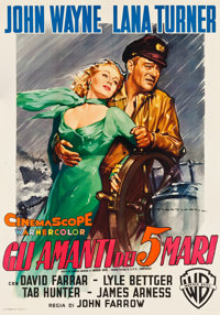 "The Sea Chase (Warner Brothers, 1955). Italian 4 - Fogli (55"" X 78"") Luigi Martinati Artwork"