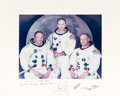Explorers:Space Exploration, Apollo 11 Large White Spacesuit Color Photo Crew-Signed on theMat....
