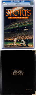 Sports Illustrated V1#1 with Display Folder (Time Inc., 1954) CGC NM 9.4 White pages.... (Total: 2 Items)