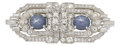Estate Jewelry:Brooches - Pins, Art Deco Star Sapphire, Diamond, Platinum Double-Clip-Brooch. ...