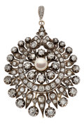 Estate Jewelry:Brooches - Pins, Antique Natural Pearl, Diamond, Silver Pendant-Brooch. ...