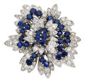 Estate Jewelry:Brooches - Pins, Diamond, Sapphire, Platinum, Gold Clip-Brooch, Hammerman Bros.. ...