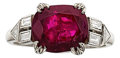 Estate Jewelry:Rings, Art Deco Burma Ruby, Diamond, Platinum Ring. ...