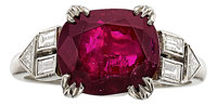 Art Deco Burma Ruby, Diamond, Platinum Ring