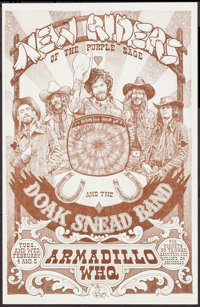 "New Riders of the Purple Sage at the Armadillo World Headquarters (AWHQ, 1975). Concert Poster (11"" X 17""). Ro..."
