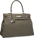 Luxury Accessories:Bags, Hermes 50cm Vert de Gris Sikkim Leather Kelly Relax Travel Bag withPalladium Hardware. P Square, 2012. Very Good to E...