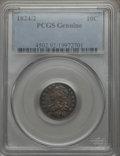 Bust Dimes: , 1824/2 10C -- Cleaning -- PCGS Genuine. Mintage: 100,000. ...