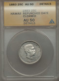 Coins of Hawaii , 1883 25C Hawaii Quarter, Repunched Date -- Cleaned -- ANACS. AU50Details. NGC Census: (30/1123). PCGS Population (89/1...