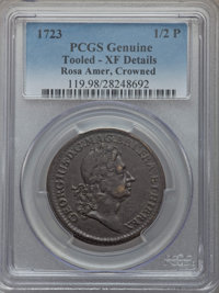 1723 1/2 P Rosa Americana Halfpenny, Crown -- Tooled -- PCGS Genuine. XF Details. PCGS Population (0/0). NGC Census: (0/...