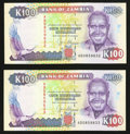 World Currency: , Zambia Bank of Zambia 100 Kwacha ND (1991) Pick 34a, Two Consecutive Examples and 20 Kwacha 1992 Pick 36b, Sixty-Eight Examp... (Total: 70 notes)