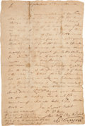 Militaria:Ephemera, [Siege of Charleston]. A Letter to Georgia Governor Richard Howly with Information about the Locations of the British. ...