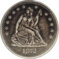 Seated Quarters: , 1872-CC 25C XF40 PCGS. A deeply toned key Carson City quarter withdove-gray device highpoints. Thorough examination fails ...