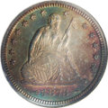 Proof Seated Quarters: , 1873 25C Arrows PR65 NGC. Deeply toned with reddish-gold on both sides and ringed with green-gold and a touch of blue in th...