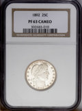 Proof Barber Quarters: , 1892 25C PR63 Cameo NGC. Type One Reverse. Richly detailed with pleasing coloration and undeniable Cameo contrast on each s...