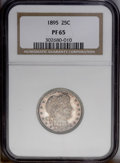 Proof Barber Quarters: , 1895 25C PR65 NGC. Both sides are deeply toned in charcoal-lavender shades, with reddish russet undertones visible at selec...