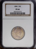 Proof Barber Quarters: , 1896 25C PR64 NGC. Deeply toned over both sides, with razor-sharp striking details and expert surface preservation. Lovely ...