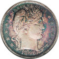 Proof Barber Quarters: , 1896 25C PR67 NGC. Dark green-blue and russet-gold toning on the obverse with the center a much lighter gray-gold. On the r...