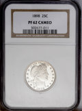 Proof Barber Quarters: , 1898 25C PR62 Cameo NGC. Starkly contrasted on both sides, with deeply reflective jet-black fields and fully frosted device...