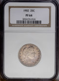 Proof Barber Quarters: , 1902 25C PR64 NGC. This sharply struck near-Gem is free of bothersome contact marks, but a handful of faint hairlines in th...