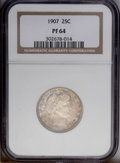 Proof Barber Quarters: , 1907 25C PR64 NGC. This originally preserved near-Gem is bathed in dappled russet accents over much of the obverse. The rev...