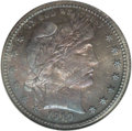 Proof Barber Quarters: , 1910 25C PR67 NGC. Essentially perfect surfaces, the obverse is predominantly deep indigo and cobalt-blue and it is shot th...