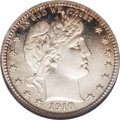 Proof Barber Quarters: , 1910 25C PR66 Cameo NGC. A visually stunning Cameo proof Barber quarter that is seemingly flawless, with deep mirrors and b...