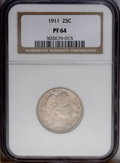 Proof Barber Quarters: , 1911 25C PR64 NGC. Pastel shades of olive-gray and terra cotta appear on both sides of this crisply struck near-Gem proof. ...