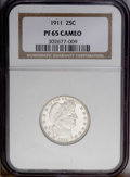 Proof Barber Quarters: , 1911 25C PR65 Cameo NGC. Pinpoint striking details are noted throughout, along with immaculately preserved surfaces. The Ca...